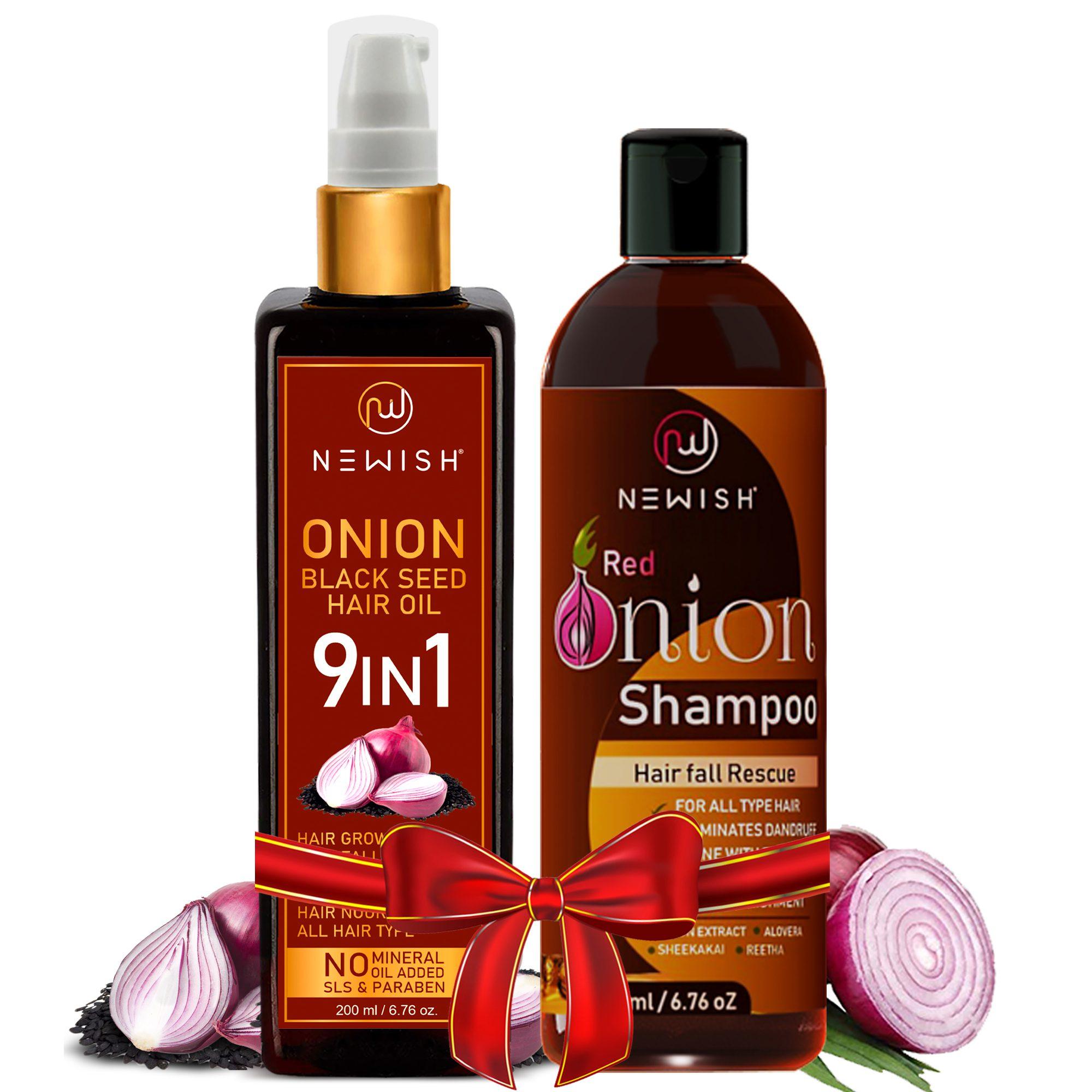 onion oil and shampoo for hair